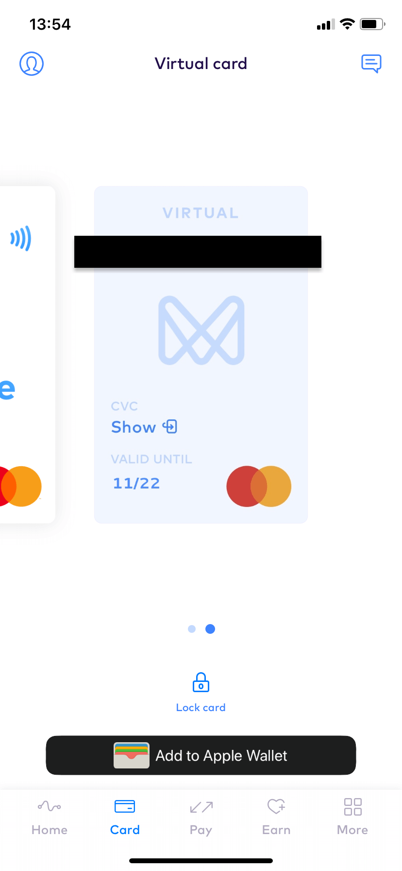 Monese virtual card