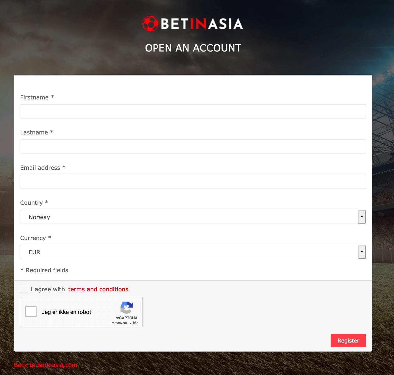 BetInAsia registrer konto
