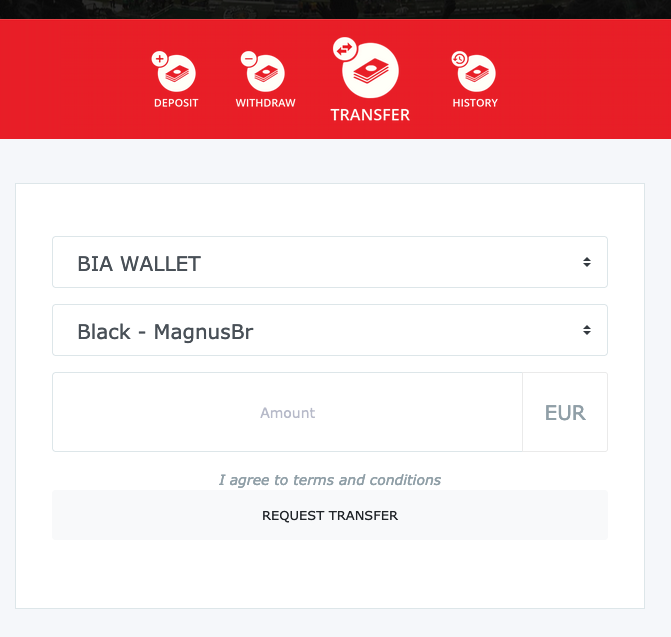 BetInAsia wallet transfer to Black