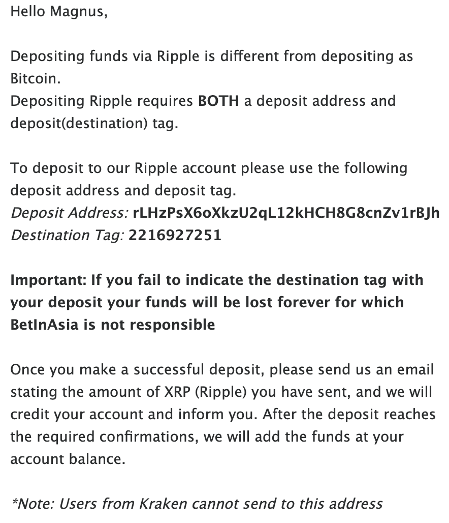 BiA XRP details