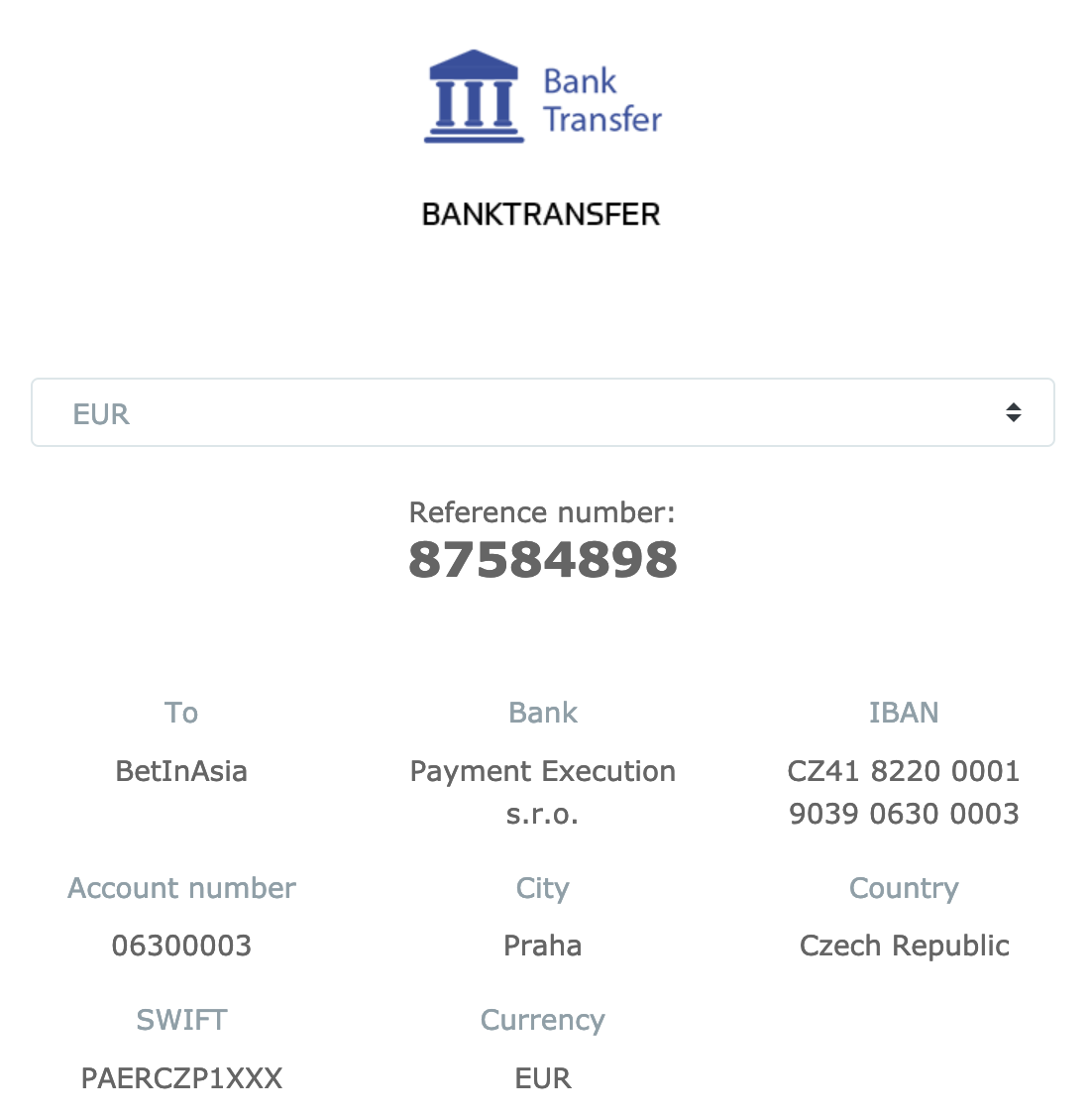 BiA bank details