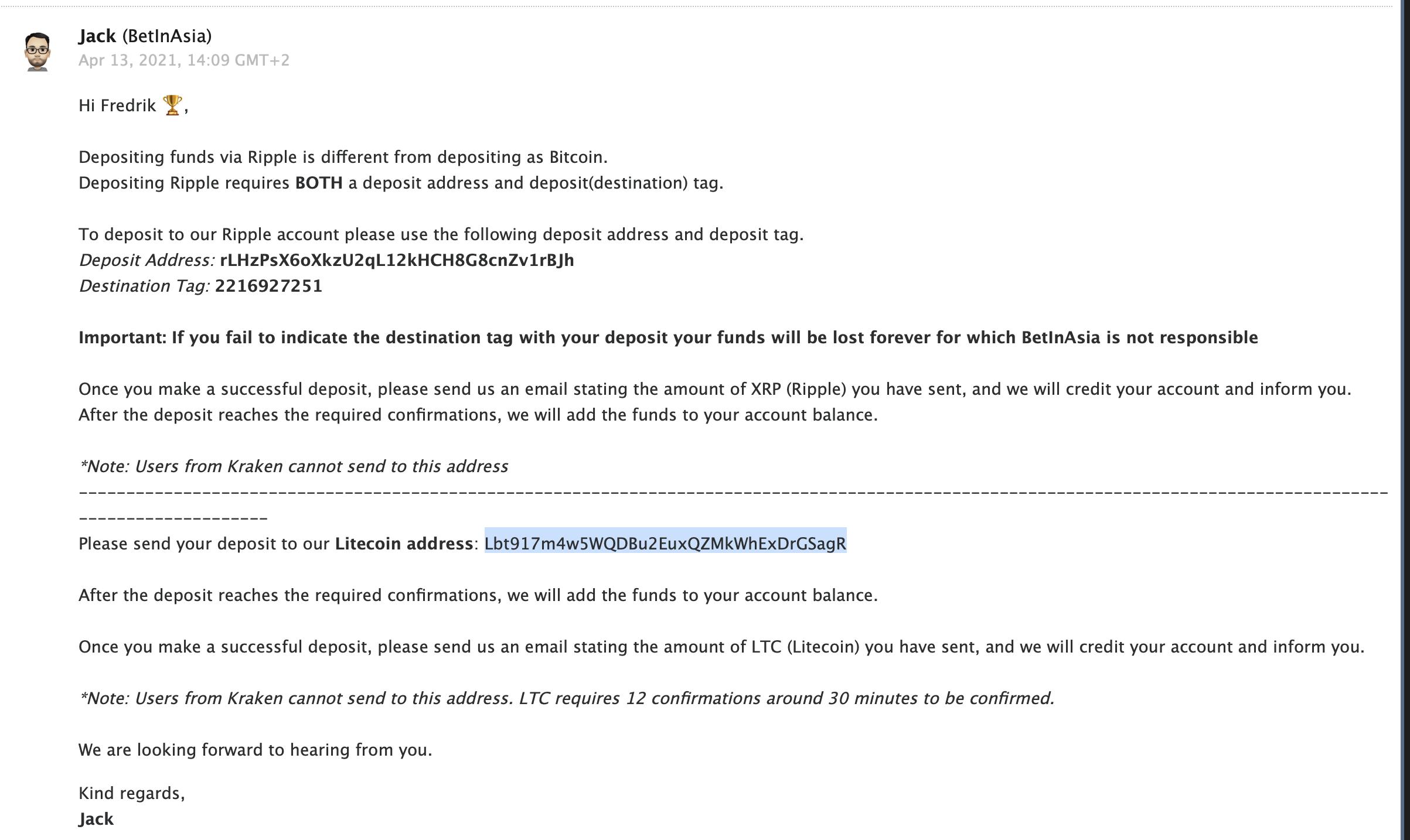 BetInAsia Litecoin adresse mail