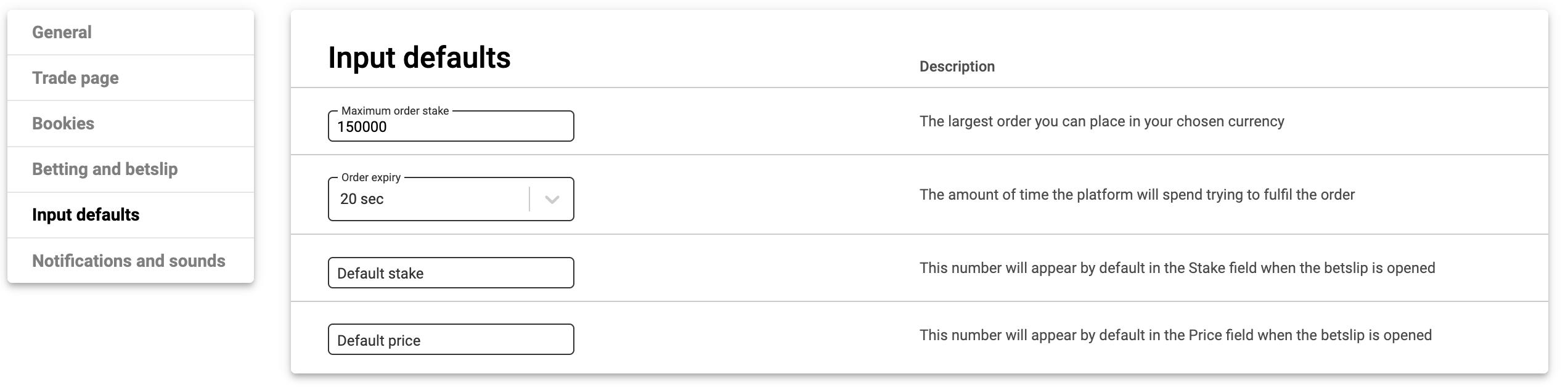 Betinasia input default